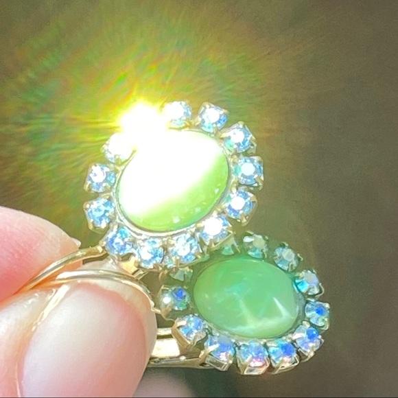 Liz Palacios Green Earrings w Swarovski Crystals